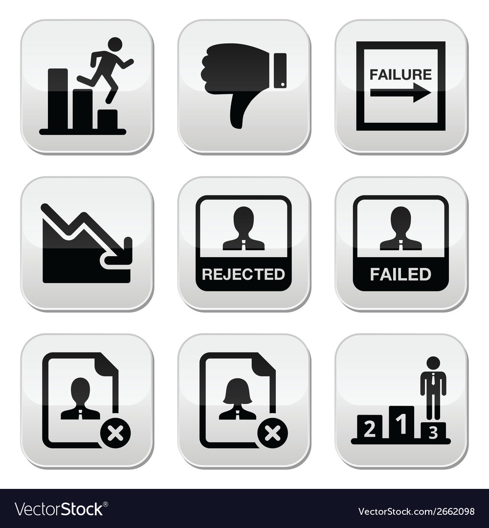 Failure rejected man buttons set vector | Price: 1 Credit (USD $1)