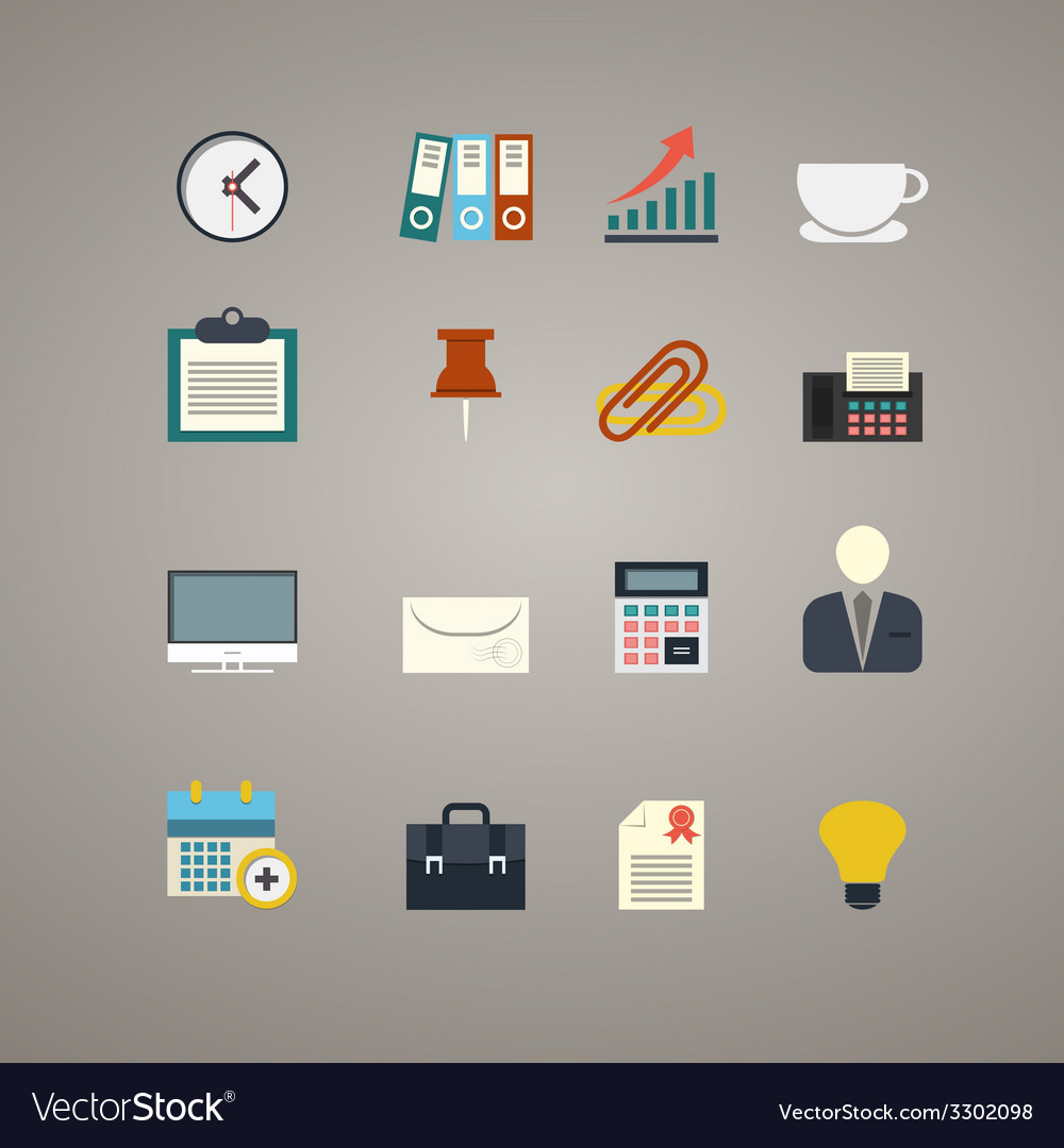 Flat business and office icons set vector | Price: 1 Credit (USD $1)