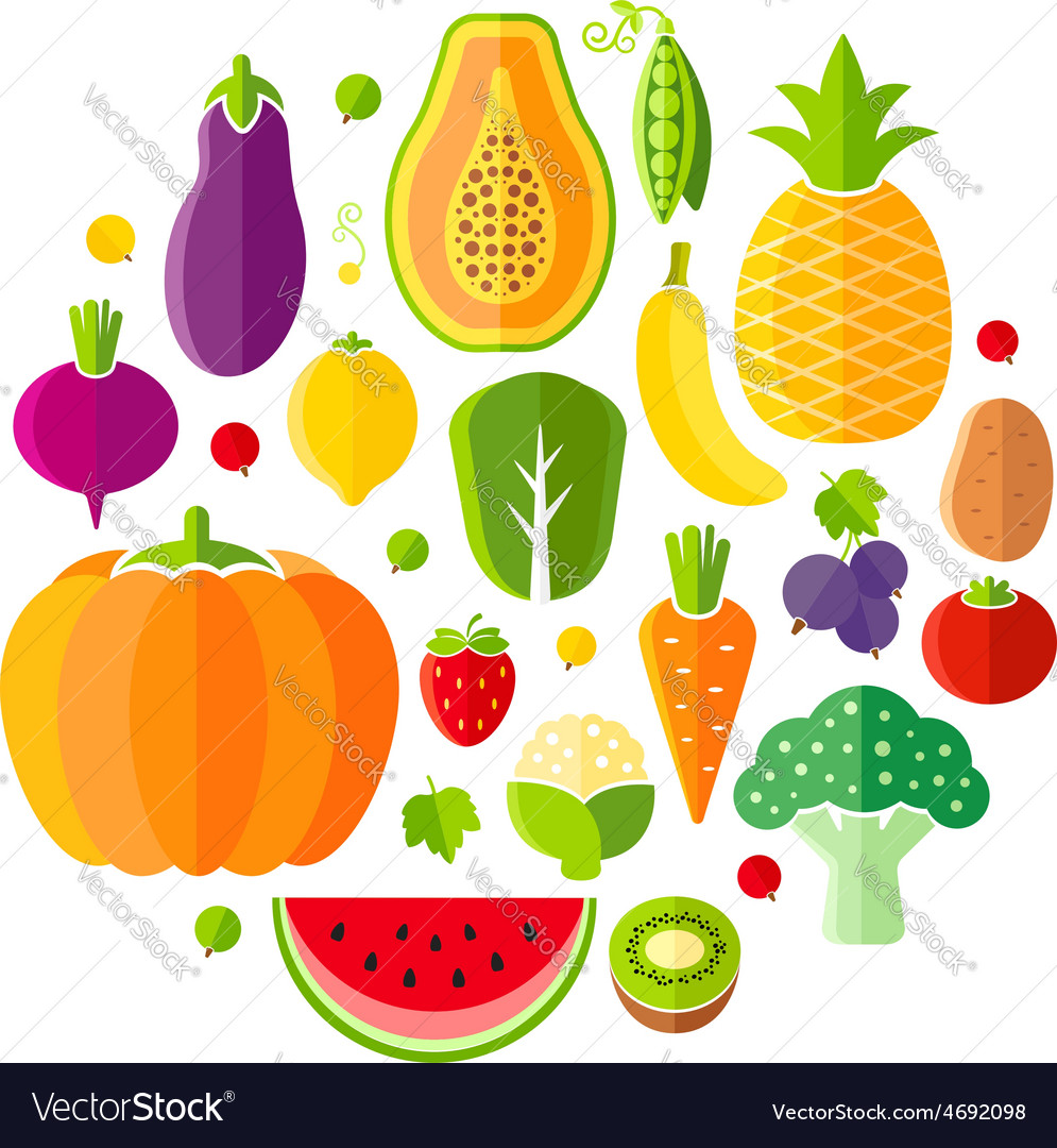 Healthy lifestyle design element with fruits vector | Price: 1 Credit (USD $1)