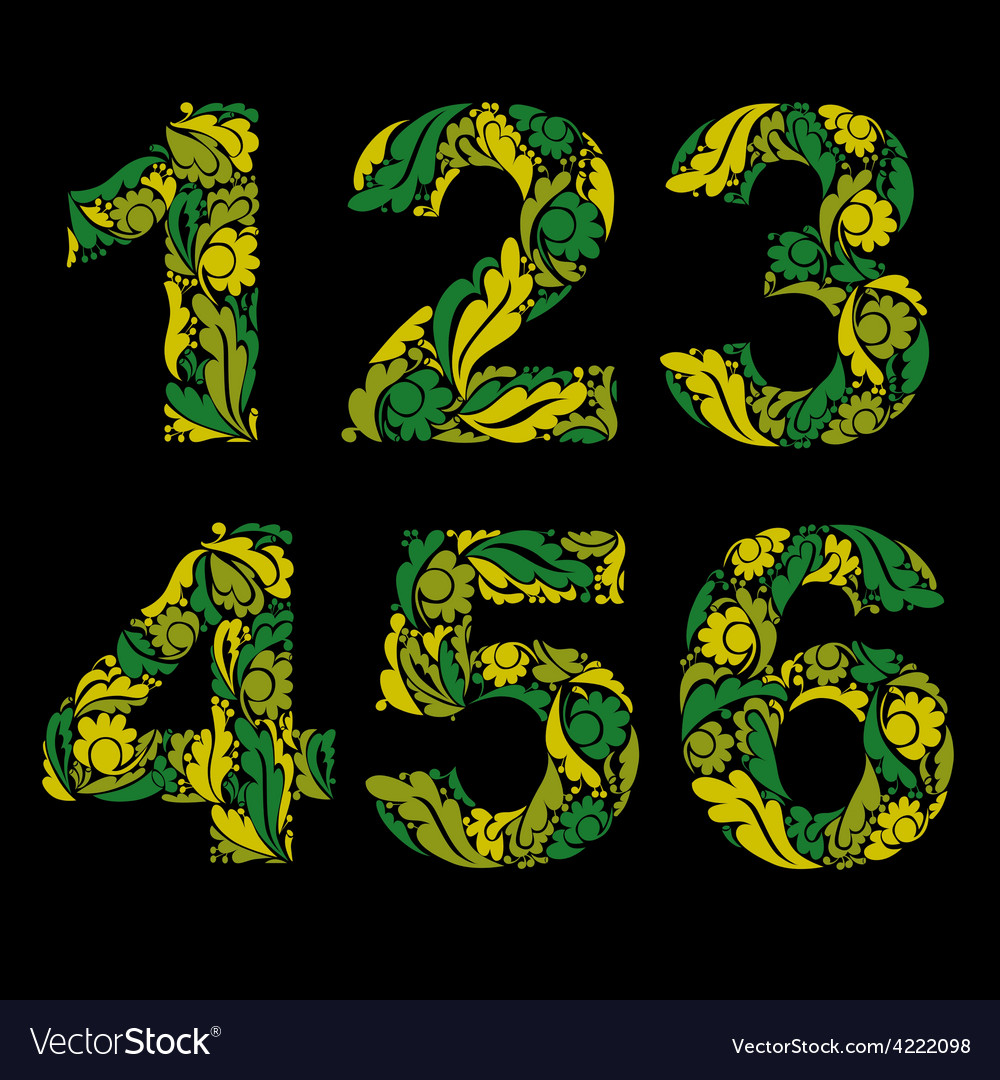 Numeration decorated with seasonal spring leaves 1 vector | Price: 1 Credit (USD $1)
