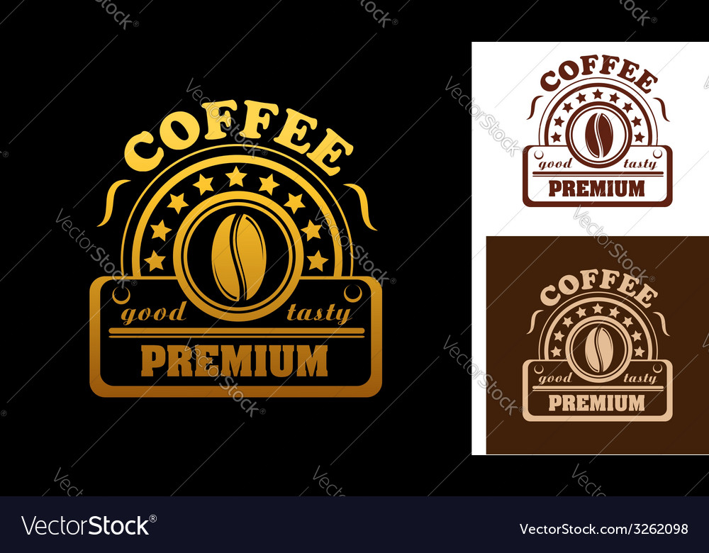 Premium coffee label or badge vector | Price: 1 Credit (USD $1)