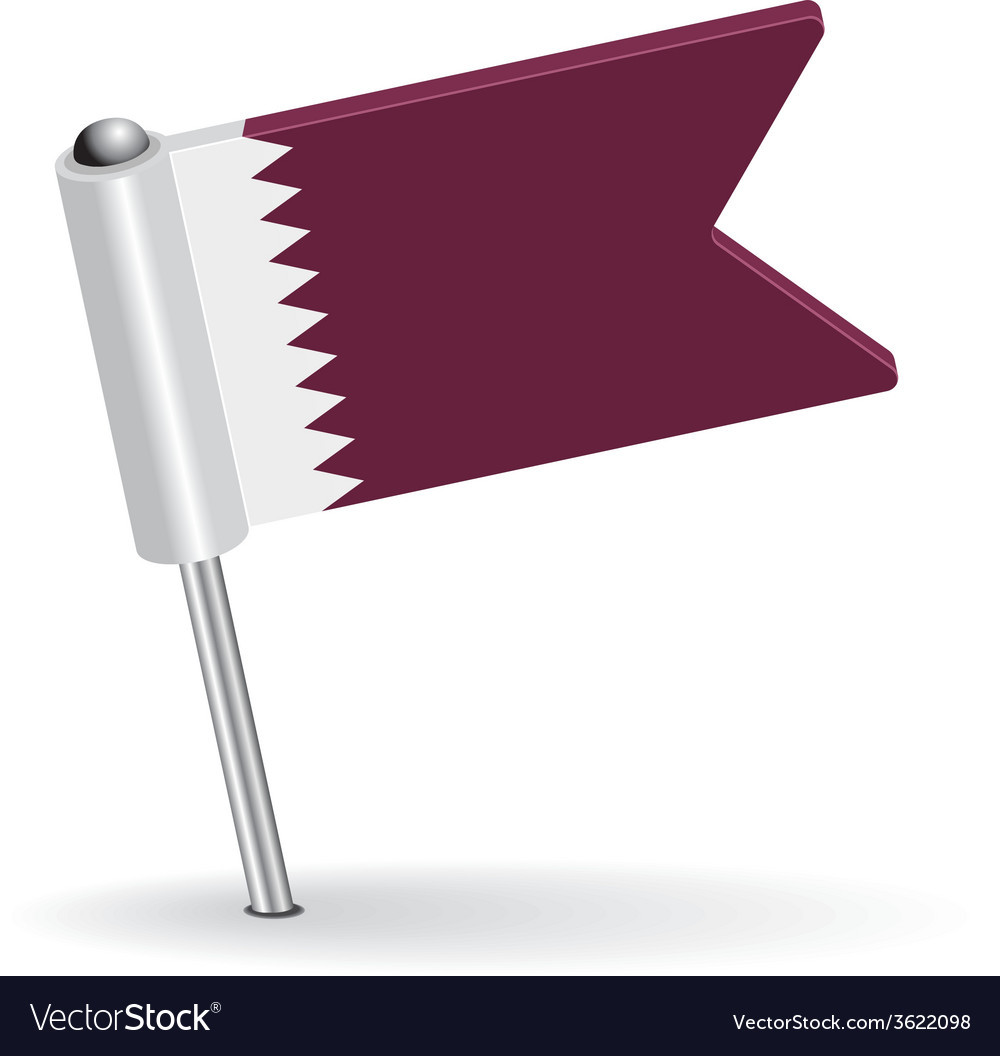 Qatar pin icon flag vector | Price: 1 Credit (USD $1)