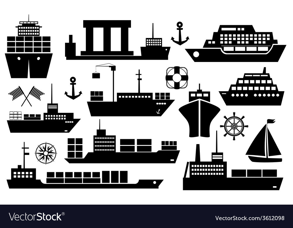 Set of ships and boats icons vector