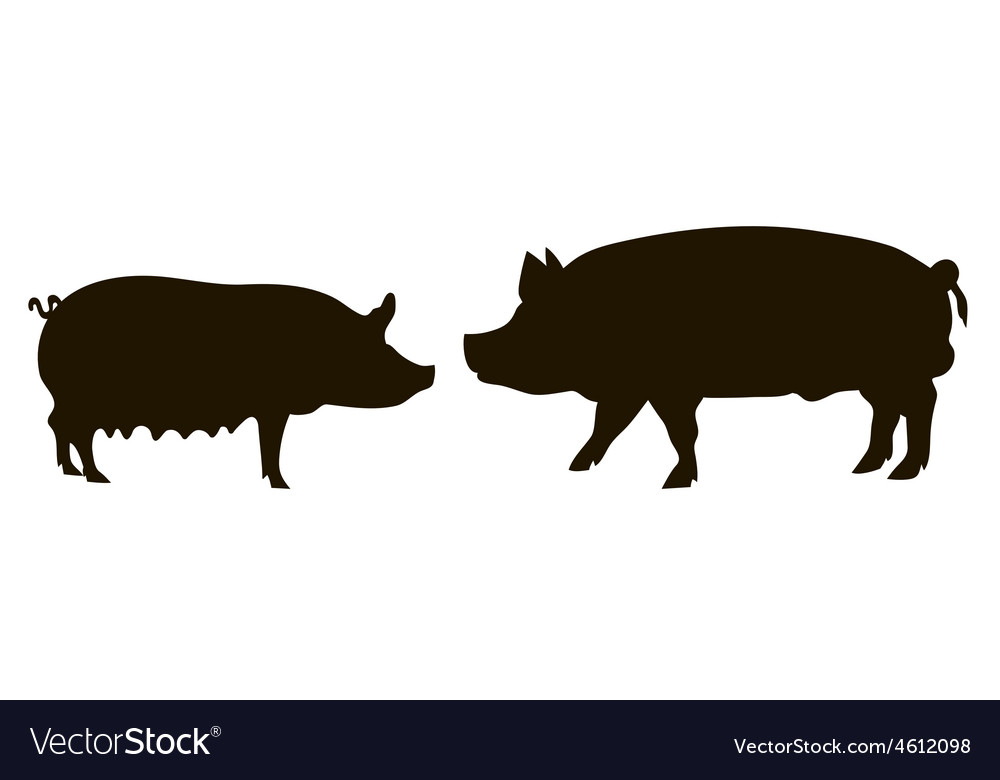 Silhouette of pigs vector | Price: 1 Credit (USD $1)