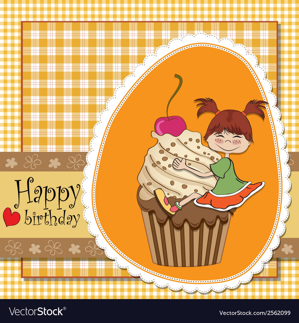 Birthday card with funny girl perched on cupcake vector | Price: 1 Credit (USD $1)