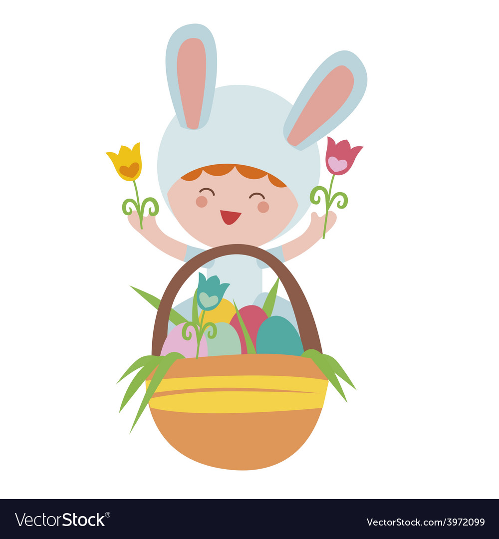 Easter with baby rabbit and basket with eggs vector | Price: 1 Credit (USD $1)