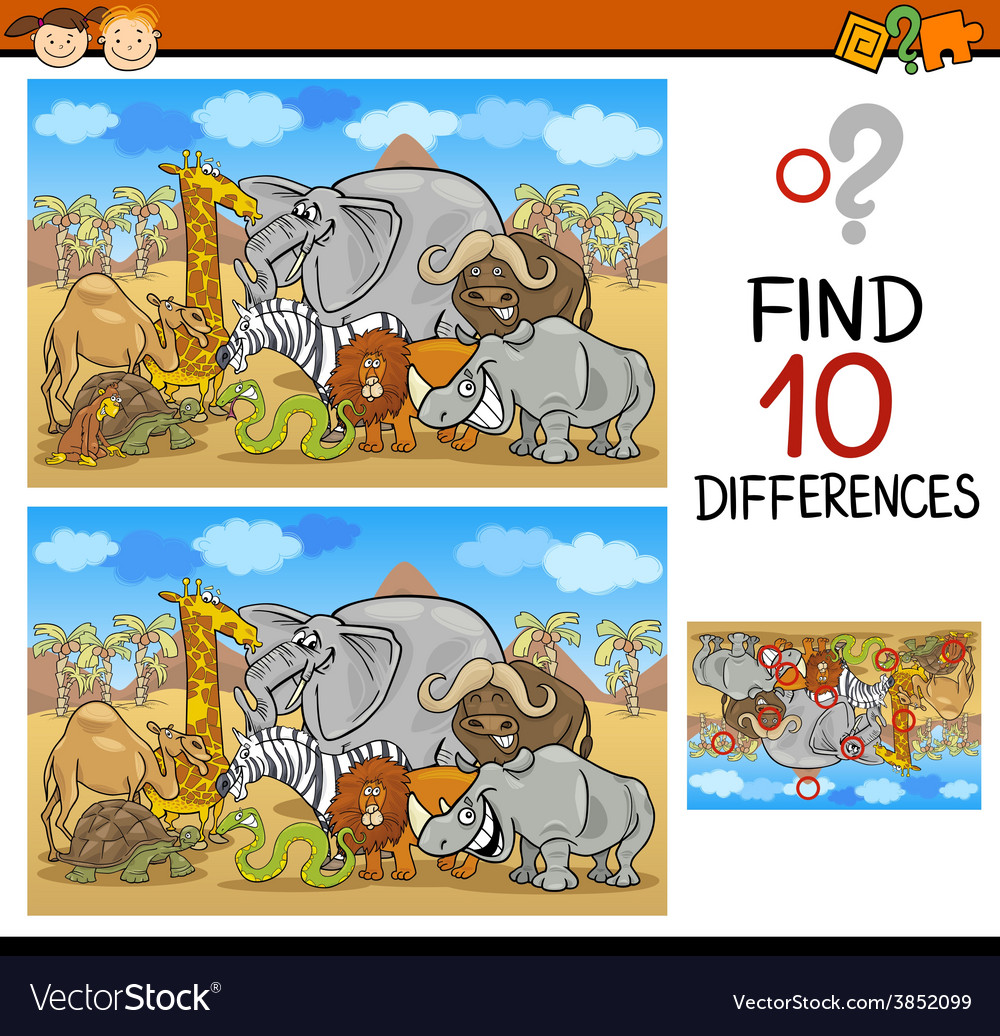 Find differences cartoon game vector | Price: 3 Credit (USD $3)