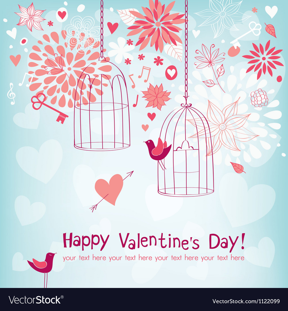 Floral card for valentines day vector   Price: 1 Credit (USD $1)
