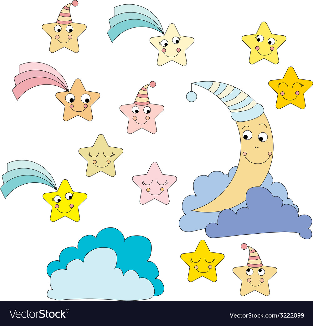 Moon and stars vector   Price: 1 Credit (USD $1)
