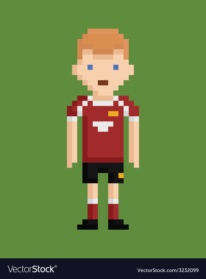 Pixel art style shows soccer player in red and vector | Price: 1 Credit (USD $1)