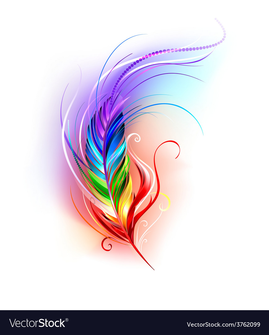 Rainbow feather on white background vector | Price: 3 Credit (USD $3)
