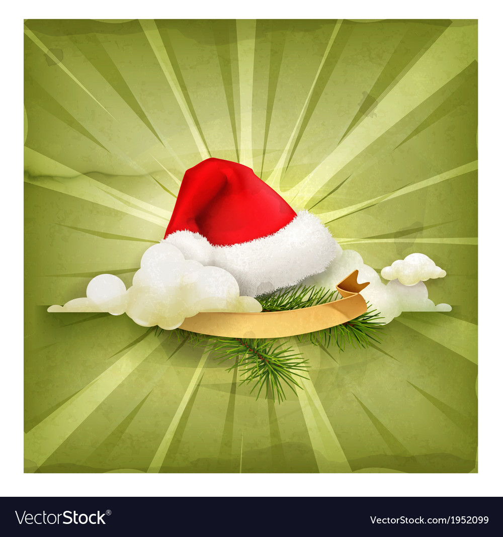Santa claus hat old style background vector | Price: 1 Credit (USD $1)