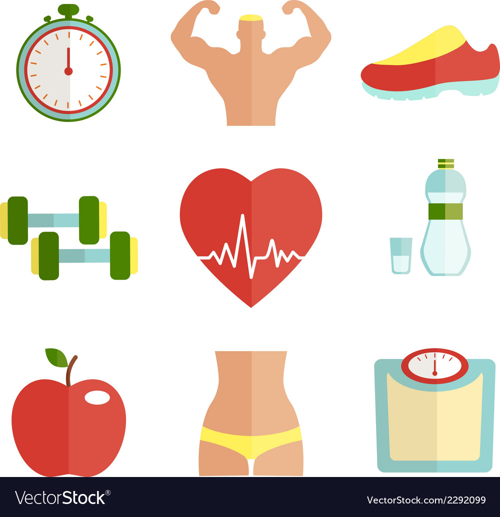 Set of flat health and sport icons vector | Price: 1 Credit (USD $1)