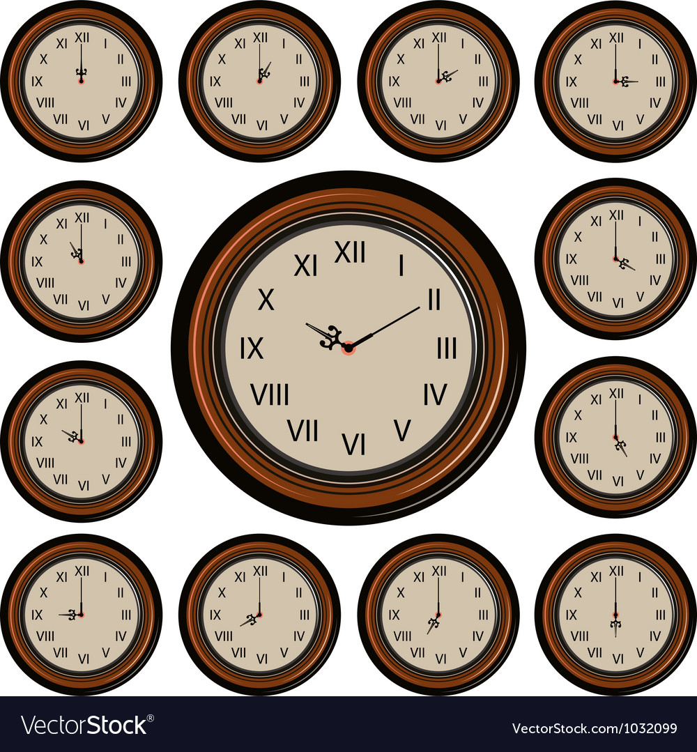 Set round wall clock vector | Price: 1 Credit (USD $1)