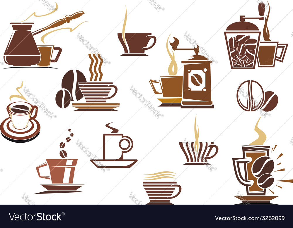 Various coffee icons vector | Price: 1 Credit (USD $1)