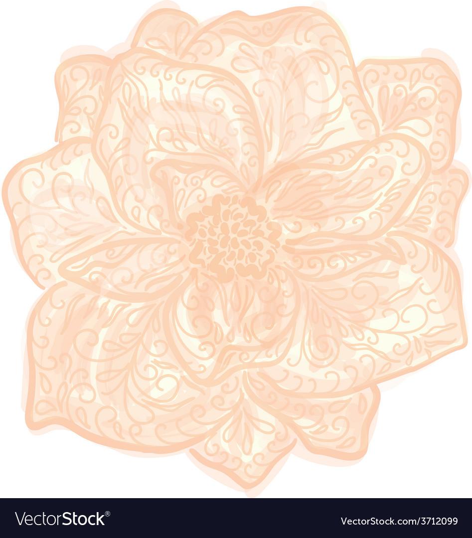 Vintage floral of blooming flowers vector | Price: 1 Credit (USD $1)