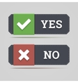 Yes and no button with check and cross icons vector