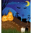 Jack o lanterns on a cemetery vector