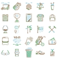 Collection of contour icons for golf vector