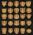 Set of vintage design elements-golden shields vector