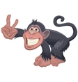Monkey showing two fingers victory gesture vector