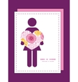 Pink field flowers woman in love silhouette frame vector
