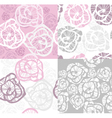 Abstract seamless flower rose pattern set vector