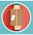 Flat delivery box and two hand vector