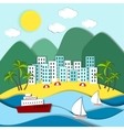Coastal town with green mountains vector