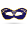 Blue mask with golden braid vector