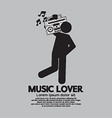 Man with radio music lover concept vector