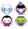 Halloween ghost dressed children vector