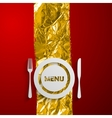 A plate and cutlery on the red and golden vector