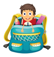 Boy in bag vector