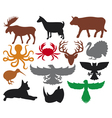 Set of animals silhouettes vector