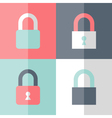 Flat padlock icon set vector