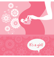 Silhouette pregnant mother with babys bootees vector