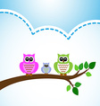 Owl family colorful on tree branch vector