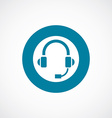 Headphones icon bold blue circle border vector