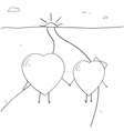 Two loving hearts walking on the road vector