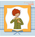 A boy brushing his teeth vector