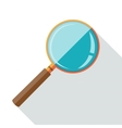 Flat design icon of magnifying glass with long vector