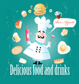 Cook different meals and drinks vector