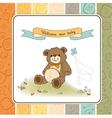 Baby shower card with cute teddy bear toy vector