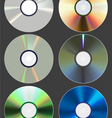 Set of discs cd dvd blu-ray vector