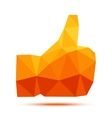 Orange - yellow geometric polygonal thumb up icon vector