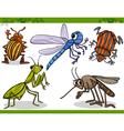 Happy insects set cartoon vector