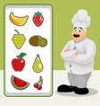 Cook with fruit vector