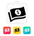 Banknotes with dollar sign icon vector
