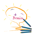 Colorful pencil crayons with creative brain sign vector